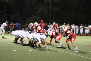 Avonworth's offense lines up in the third quarter on their way to clinching their 35-7 victory. Photo By Ethan Woodfill