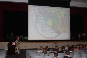 During her 40 minute presentation, Sarah Kluitenberg shared inspiring and educational stories about her year of living in Sierra Leone.