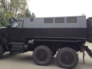 This is their brand SWAT truck used in Afghanistan and Iraq. It costs 750,000 dollars and weighs 28 tons. Photo by Shane Fitzgerald