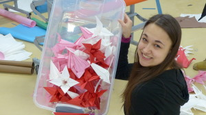 Sierra from Emerson with origami flowers.