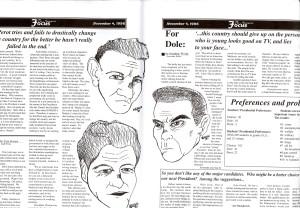 A Dolve v. Clinton v. Perot cartoon from a 1996 Avonews