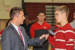 WTAE Morning Anchor Ryan Recker interviewing Paul Heflin getting ready for Friday night's game against Northgate.