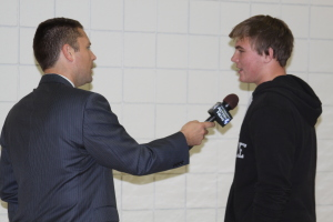 Brandon Wasko is interviewed before his team's final home game.