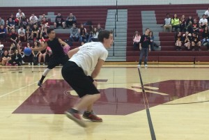 Juniors Matt Goodnight and Kenny Baurle giving their hardest toss towards their opponents