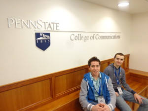 Ryan and Dave, minutes before finding out they won 1st place in their division, catch down time within the College of Communications at Penn State's Main Campus.
