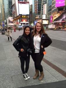Juniors Katie Lorch and Rachel Berg in Times Square during the Avonworth Band trip from Friday, March 20th through Sunday, March 23rd.