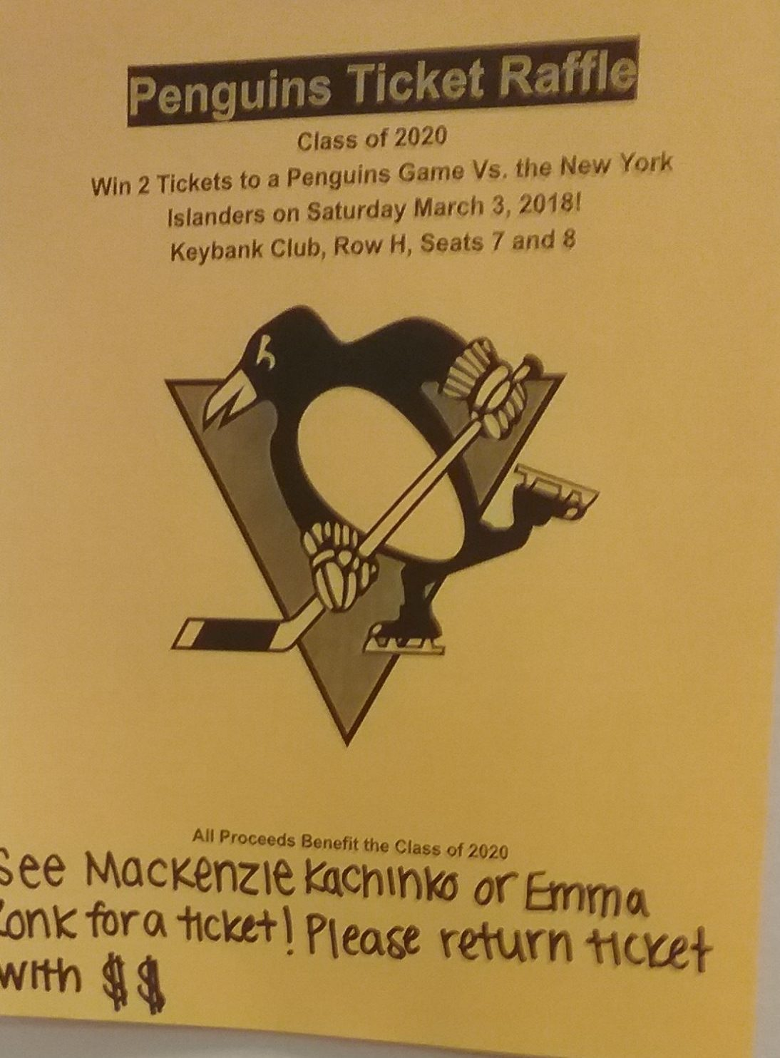 Penguins Raffle for 10th Grade Fundraiser
