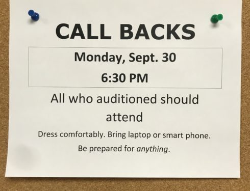 Fall Play Auditions Start Earlier With Two Weeks Between Callbacks